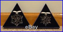 2016 & 2017 Annual Edition Swarovski Crystal Snowflake Ornaments New In Boxes