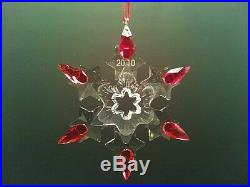 SWAROVSKI 2010 limited edition HOLIDAY RED TIP annual snowflake ornament